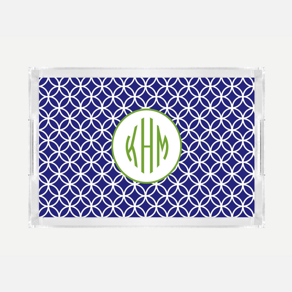 Monogrammed Navy Clover Lucite Serving Tray