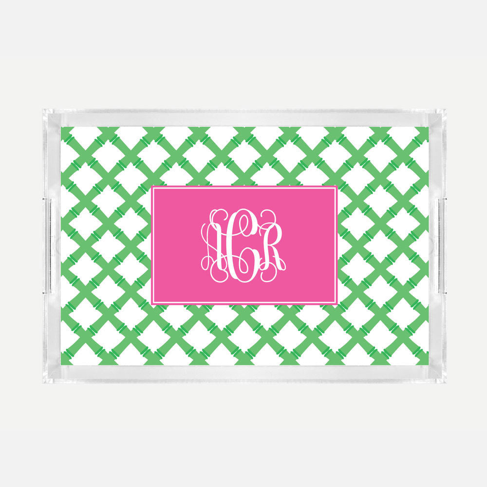 Monogrammed Green Bamboo Lucite Serving Tray