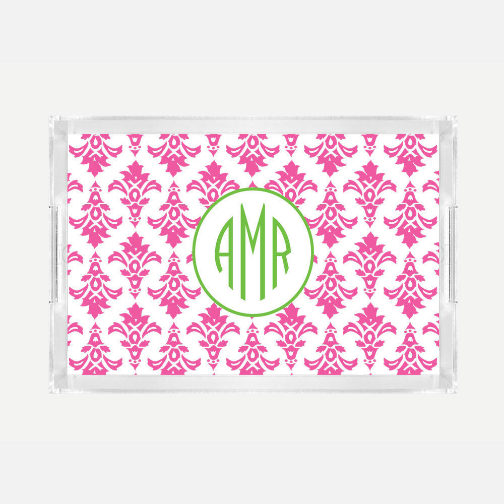 Monogrammed Pink Damask Lucite Serving Tray