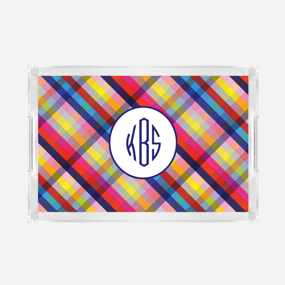 Monogrammed Bright Gingham Lucite Serving Tray