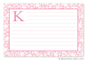 Monogrammed Petite Flower Recipe Cards