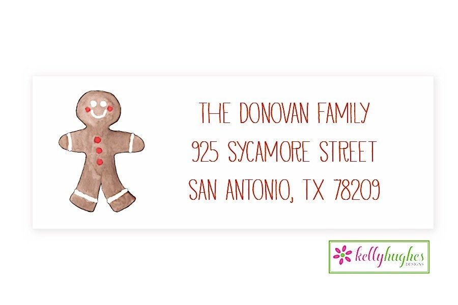 gingerbread man christmas holiday address labels the monogram