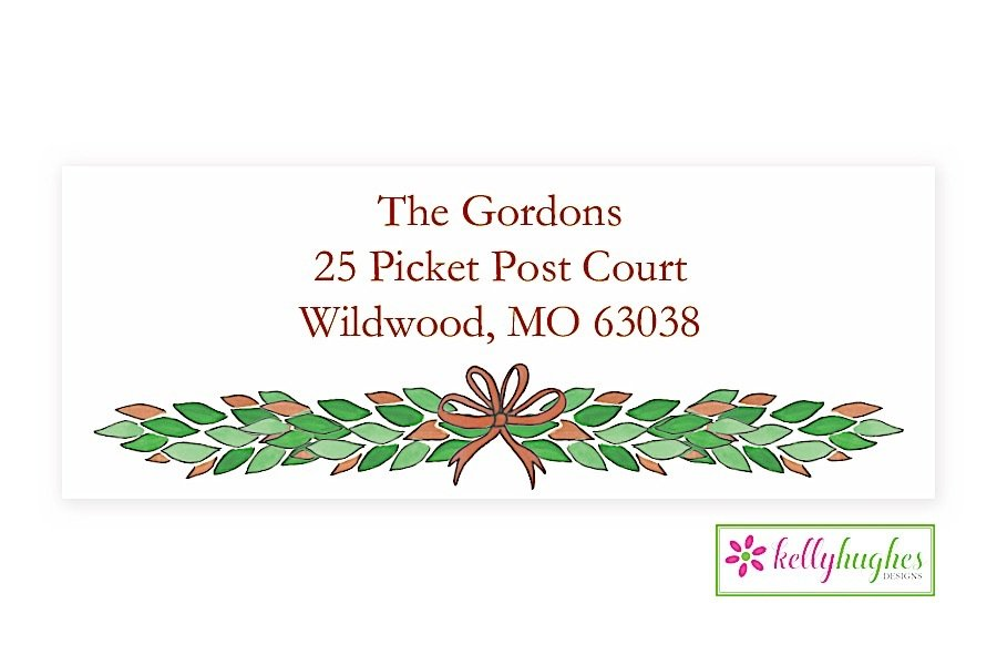 magnolia swag christmas holiday address labels the monogram