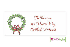 Mistletoe Wreath  - Christmas Holiday - Address Labels