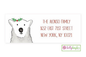 Polar Bear Wishes  - Christmas Holiday - Address Labels