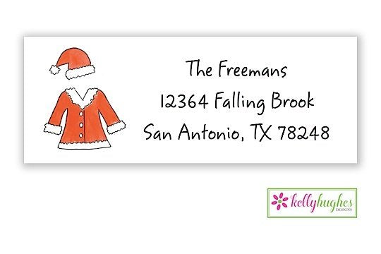 Santa Suit  - Christmas Holiday - Address Labels