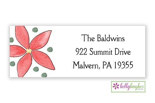 Poinsettia - Christmas Holiday - Address Labels