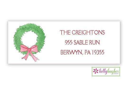 Fir Wreath - Christmas Holiday - Address Labels