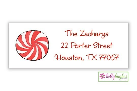 peppermint swirl christmas holiday address labels the monogram