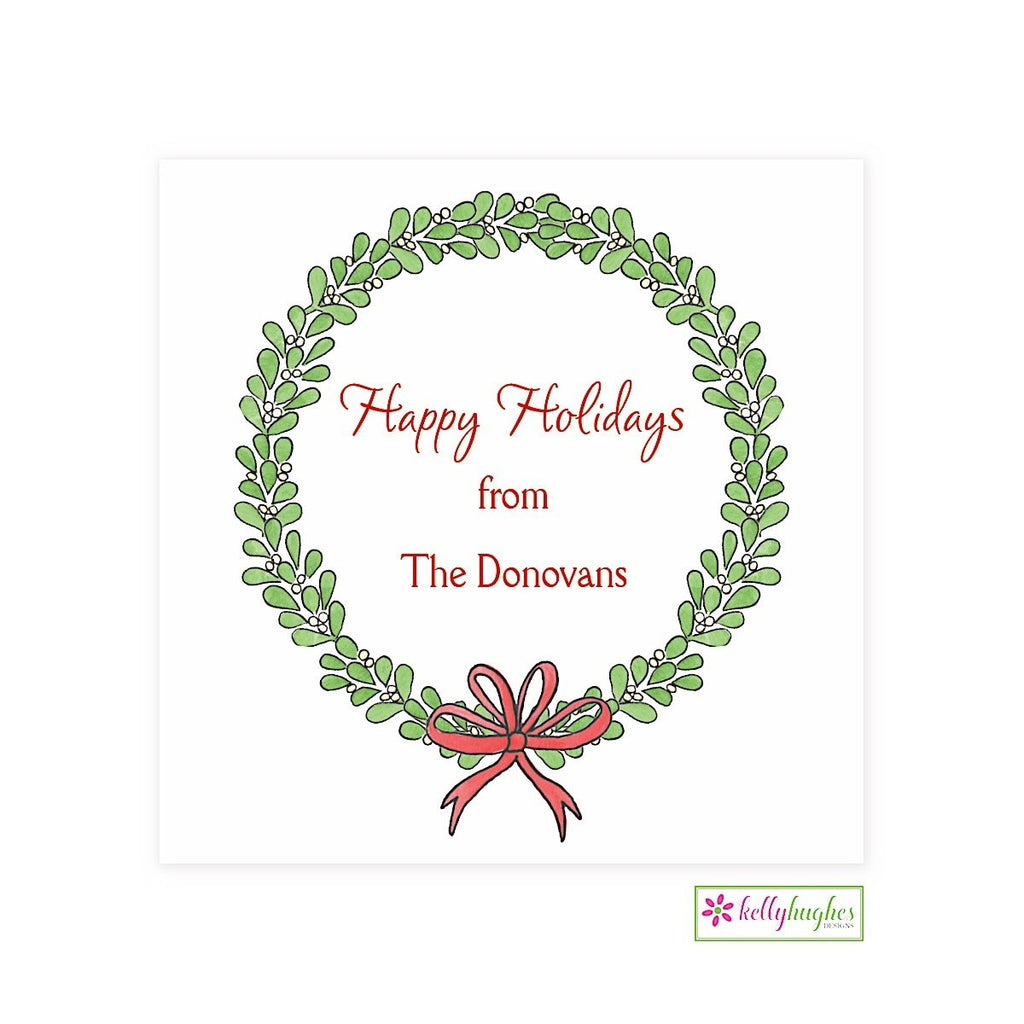 Mistletoe Wreath Christmas Holiday Gift Sticker