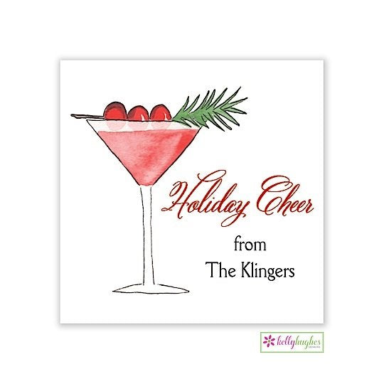Cranberry Martini Christmas Holiday Gift Sticker
