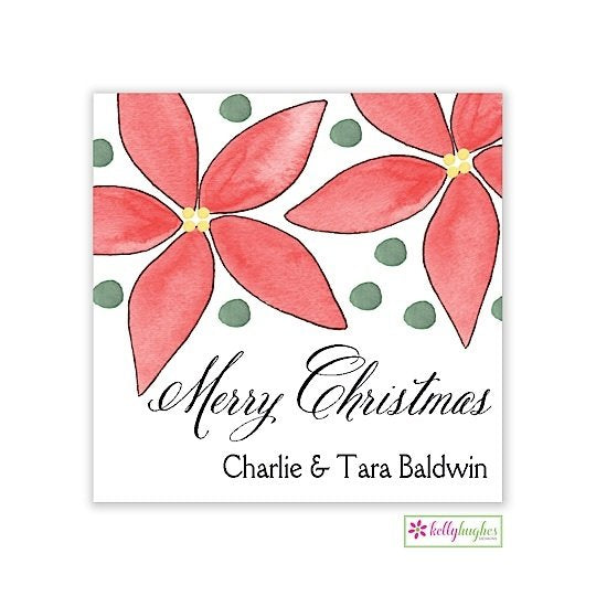 Poinsettia Christmas Holiday Gift Sticker