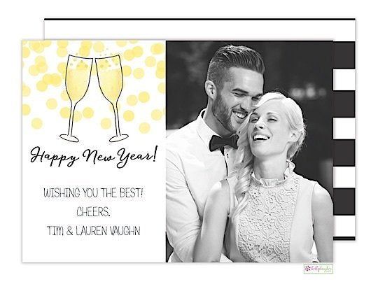 Champagne Toast Holiday Photo Card