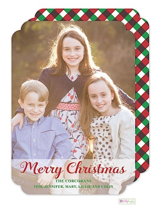 Red & Green Gingham Holiday Photo Card