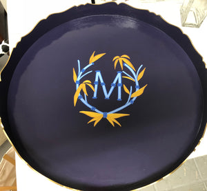 Round Blue Bamboo Monogram Wood Tray