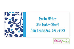 Blue China Modern Address Labels