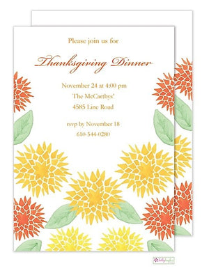 Garden Mums - Thanksgiving Holiday Invitation