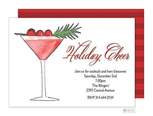 Cranberry Martini - Christmas Holiday Invitation