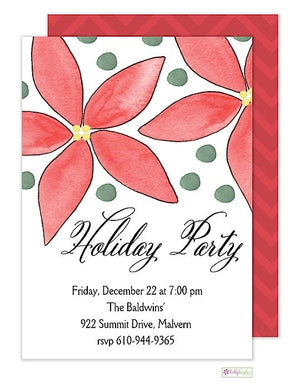 Poinsettia - Holiday Party - Invitation