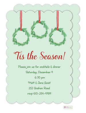 Holiday Wreath - Christmas Holiday Invitation