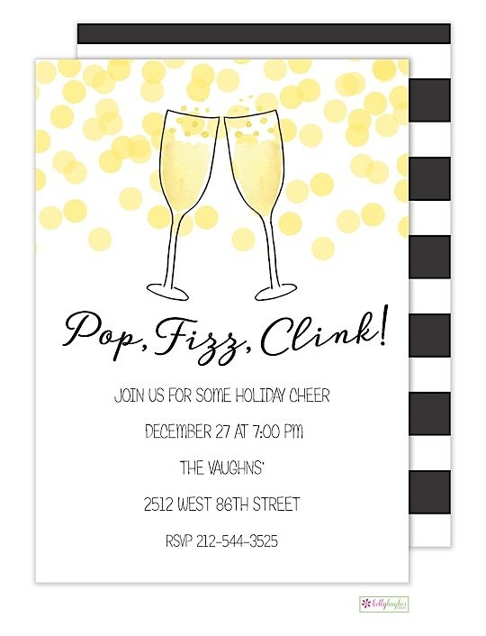 champagne toast new years eve holiday invitation