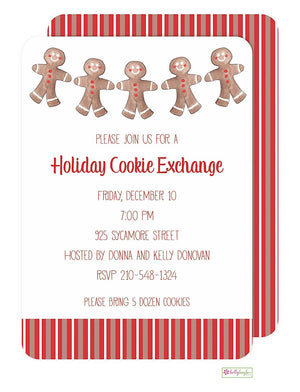 Gingerbread Men - Christmas Holiday Invitation
