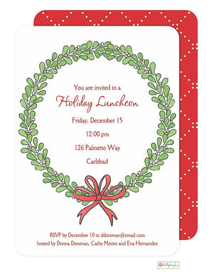 Mistletoe Wreath -Christmas Holiday Invitation
