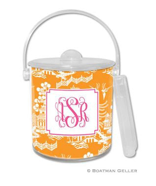Chinoiserie Monogrammed Lucite Ice Bucket