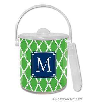 Bamboo Monogrammed Lucite Ice Bucket