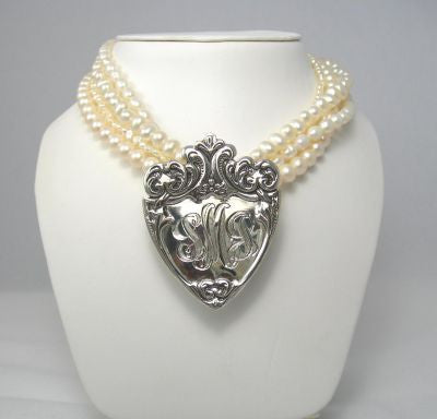 Hand Engraved Monogrammed Sterling Silver Pendant on Pearls
