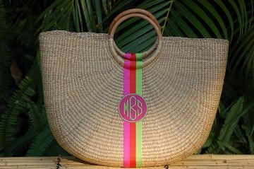 Monogrammed Large Straw Beach Bag