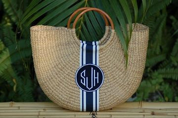Monogrammed Medium Half Moon Straw Basket