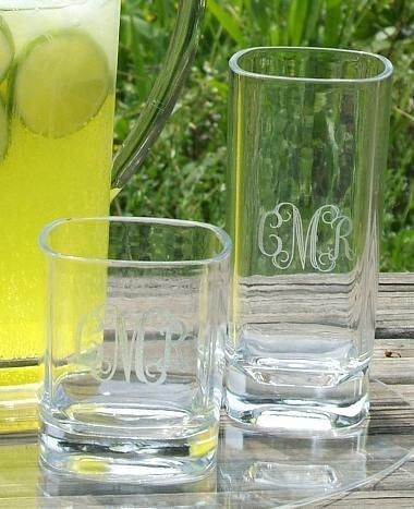 Monogrammed Square Acrylic Tumblers