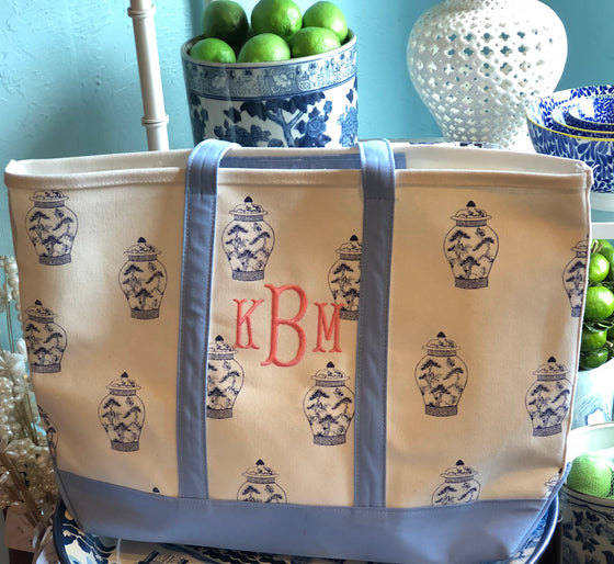 Ginger Jar with French Blue Trim Classic Tote