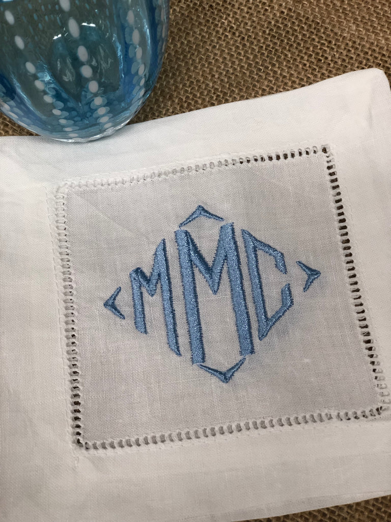 Monogrammed Linen Cocktail Coaster