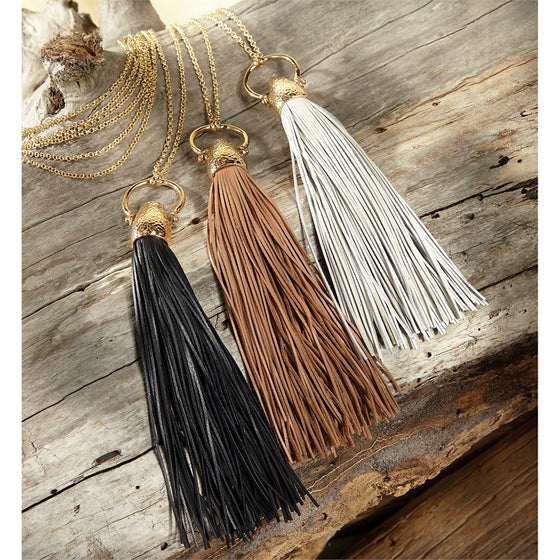 Leather Tassel Necklace White 5213 / Tan 5212 / Black 5211