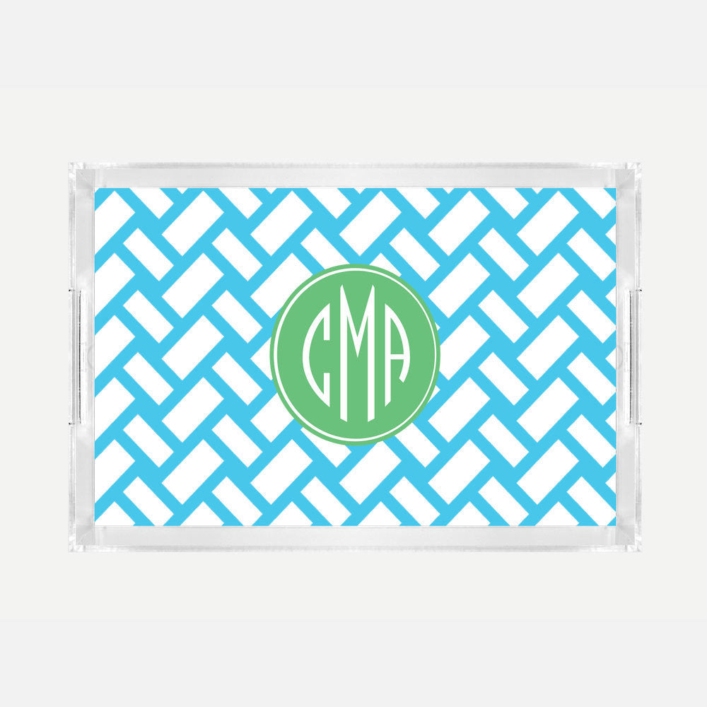 Monogrammed Basketweave Lucite Serving Tray