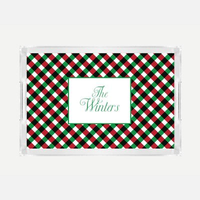 Monogrammed Christmas Gingham Lucite Serving Tray