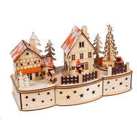 Wood Christmas LED Village with Motion and Music