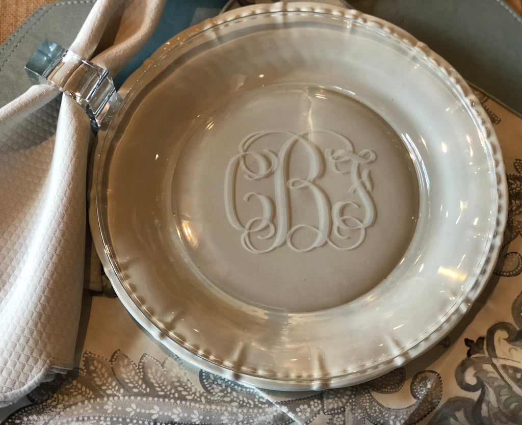 Monogrammed Round Buffet Glass Plates (Set of 4)