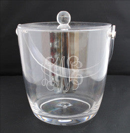 Monogrammed Large Acrylic Ice Bucket w/ Lid and Handle