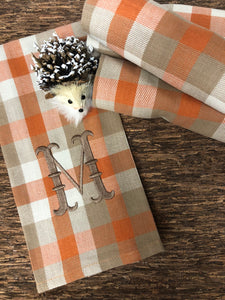 Monogrammed Autumn Plaid Hand Towels