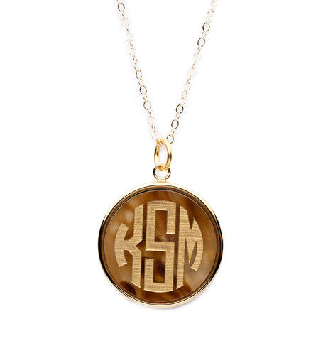 Acrylic Vineyard Round Monogram Pendant on Apex Chain