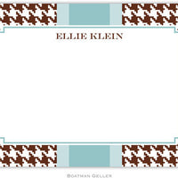 Alex Houndstooth Chocolate Flat Notecard