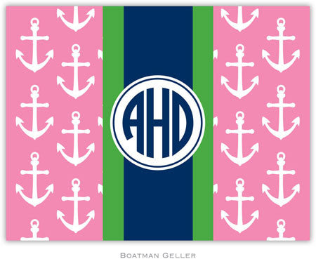 Anchors Ribbon in Pink Foldover Note
