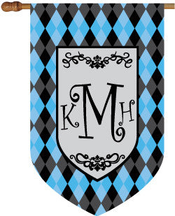 Monogrammed Argyle Blue House Flag