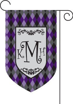 Monogrammed Argyle Purple Garden Flag