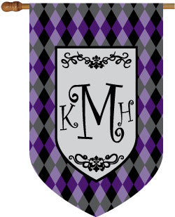 Monogrammed Argyle Purple House Flag