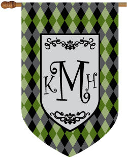 Monogrammed Argyle Green House Flag