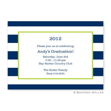 Awning Stripe Navy Flat Card